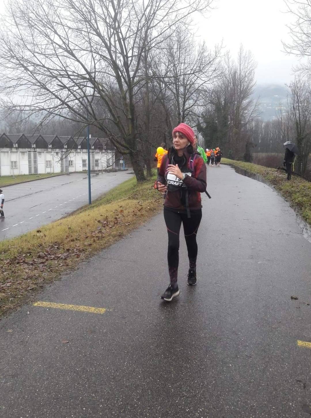 Agnès pendant la course